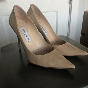 Jimmy Choo abel pointed patent nude pump